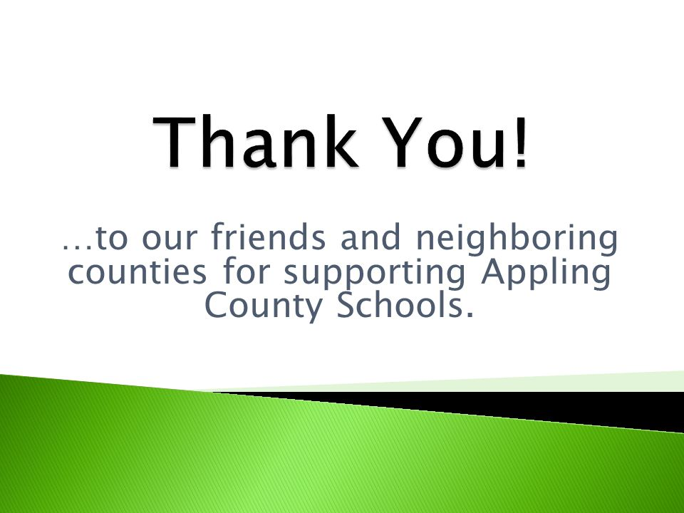 …to our friends and neighboring counties for supporting Appling County Schools.