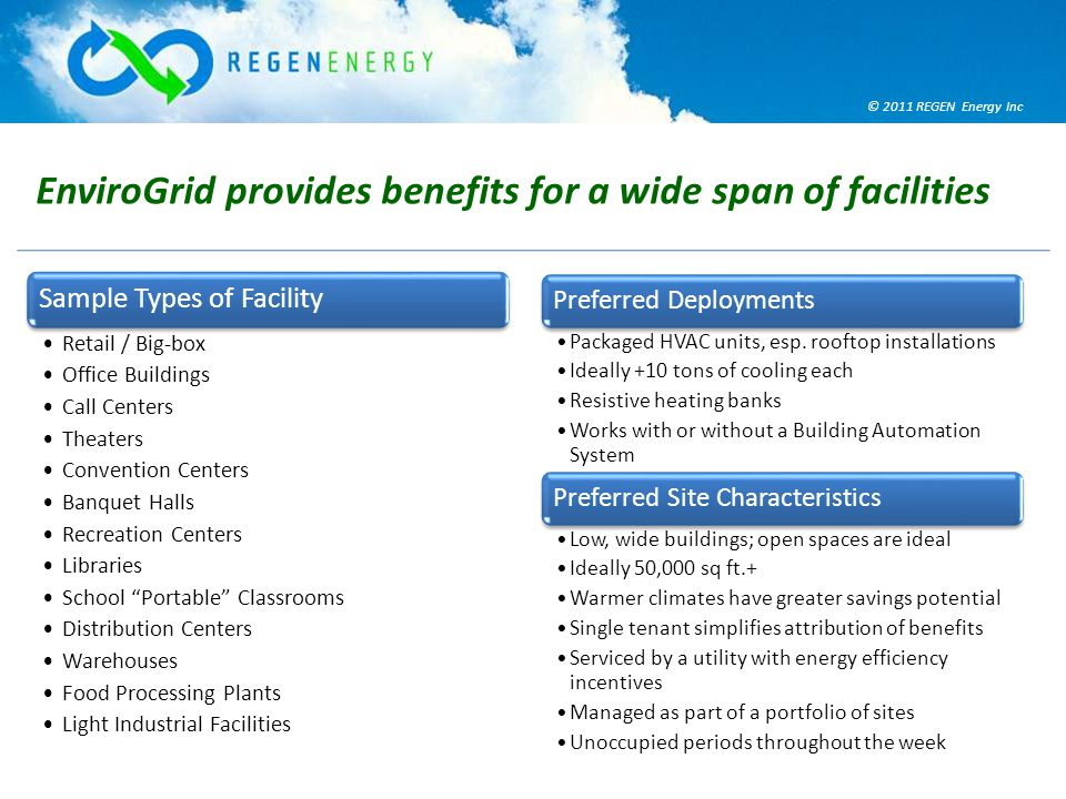 © 2011 REGEN Energy Inc EnviroGrid provides benefits for a wide span of facilities Sample Types of Facility Retail / Big-box Office Buildings Call Centers Theaters Convention Centers Banquet Halls Recreation Centers Libraries School Portable Classrooms Distribution Centers Warehouses Food Processing Plants Light Industrial Facilities Preferred Deployments Packaged HVAC units, esp.