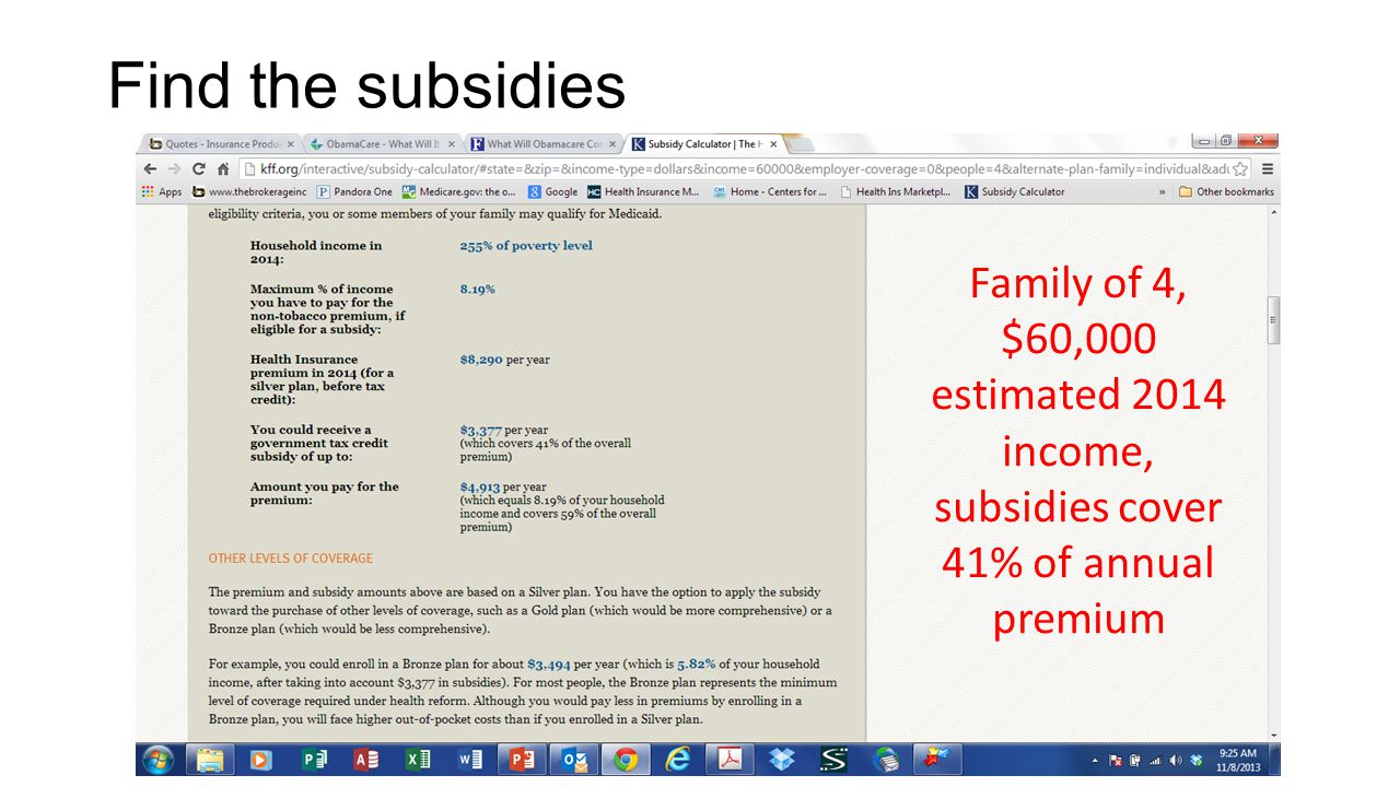 Find the subsidies Family of 4, $60,000 estimated 2014 income, subsidies cover 41% of annual premium