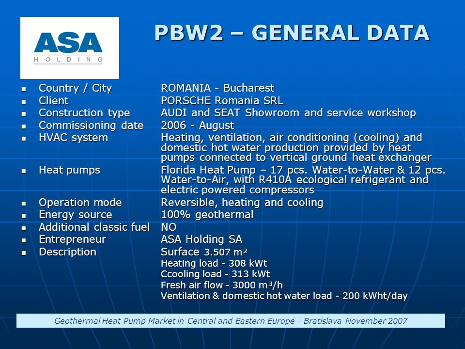 PBW2 – GENERAL DATA Country / CityROMANIA - Bucharest Country / CityROMANIA - Bucharest ClientPORSCHE Romania SRL ClientPORSCHE Romania SRL Constructi