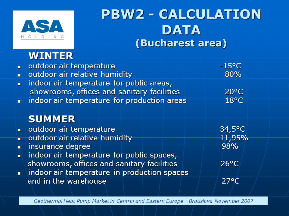 PBW2 - CALCULATION DATA (Bucharest area) WINTER outdoor air temperature-15°C outdoor air temperature-15°C outdoor air relative humidity 80% outdoor ai
