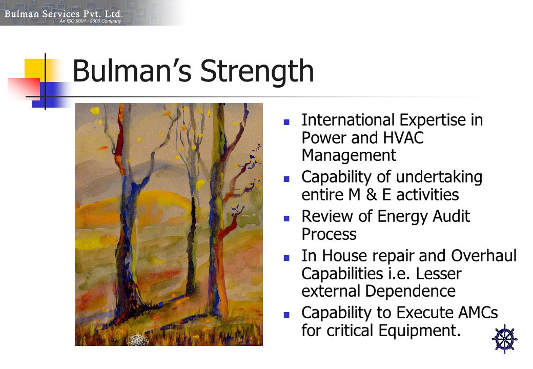Bulman's Strength International Expertise in Power and HVAC Management Capability of undertaking entire M & E activities Review of Energy Audit Proces