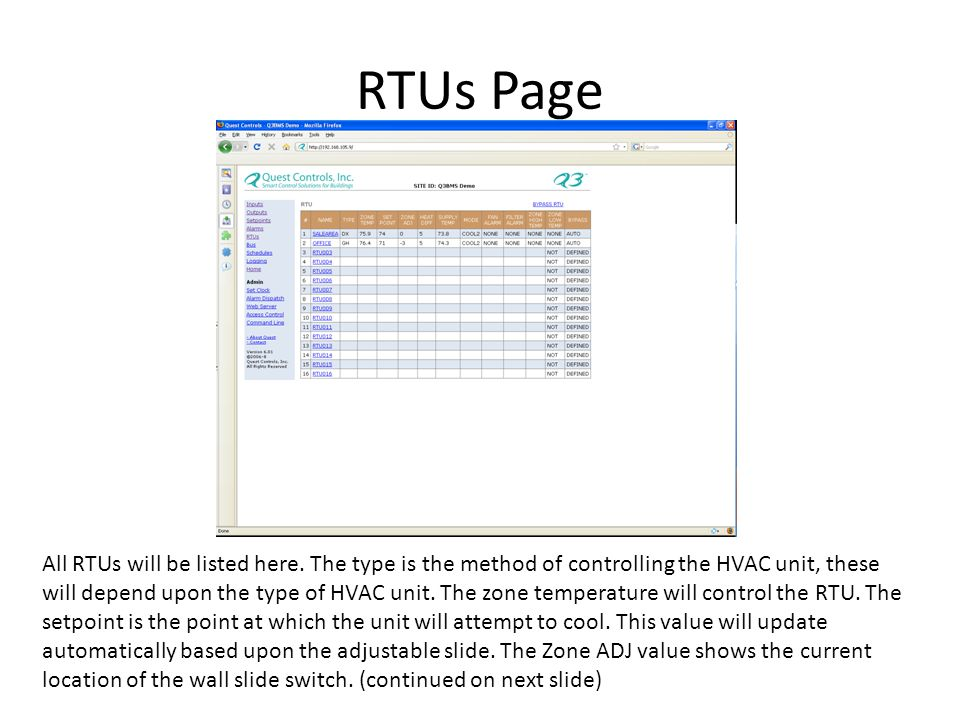 RTUs Page All RTUs will be listed here.