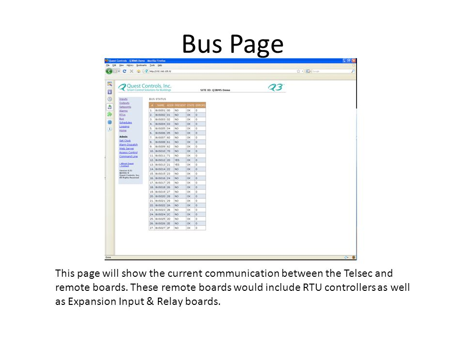Bus Page This page will show the current communication between the Telsec and remote boards.