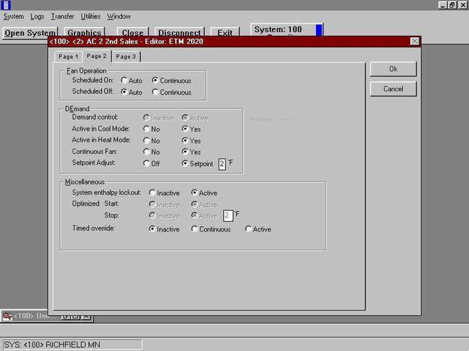Parameters screen 2