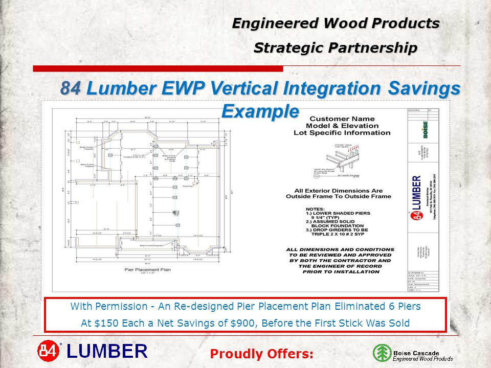 Proudly Offers: Engineered Wood Products Strategic Partnership 84 Lumber EWP Vertical Integration Savings Example With Permission - An Re-designed Pier Placement Plan Eliminated 6 Piers At $150 Each a Net Savings of $900, Before the First Stick Was Sold