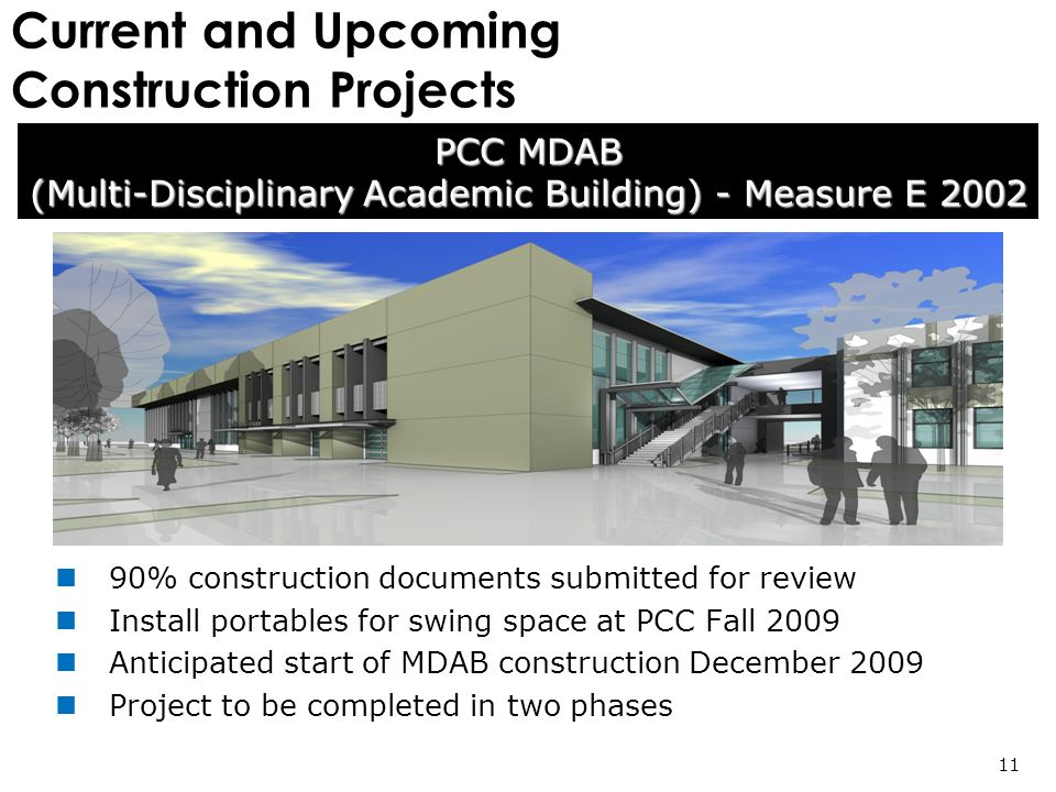 Current and Upcoming Construction Projects 90% construction documents submitted for review Install portables for swing space at PCC Fall 2009 Anticipated start of MDAB construction December 2009 Project to be completed in two phases PCC MDAB (Multi-Disciplinary Academic Building) - Measure E 2002 11