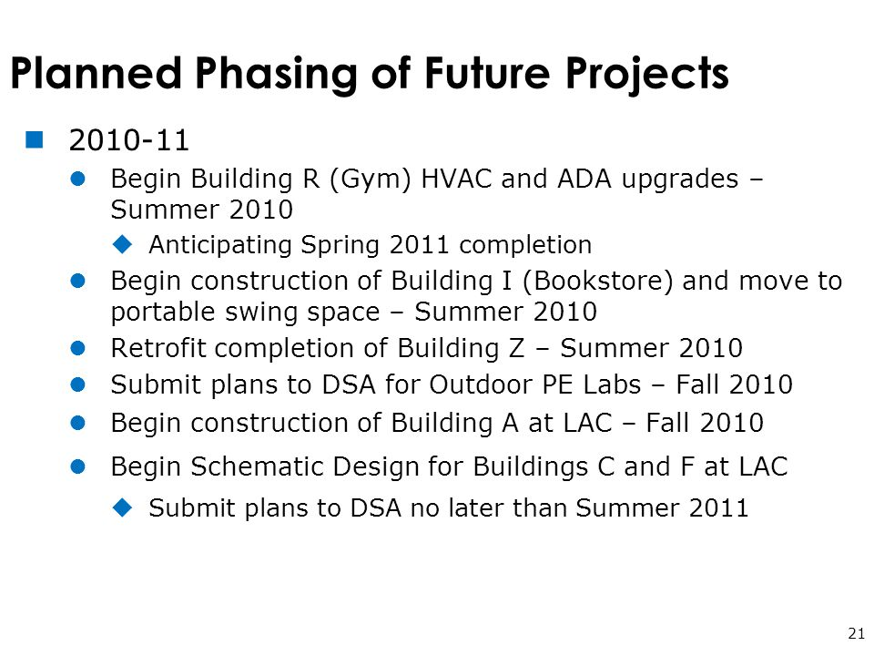 Planned Phasing of Future Projects 21 2010-11 Begin Building R (Gym) HVAC and ADA upgrades – Summer 2010  Anticipating Spring 2011 completion Begin construction of Building I (Bookstore) and move to portable swing space – Summer 2010 Retrofit completion of Building Z – Summer 2010 Submit plans to DSA for Outdoor PE Labs – Fall 2010 Begin construction of Building A at LAC – Fall 2010 Begin Schematic Design for Buildings C and F at LAC  Submit plans to DSA no later than Summer 2011