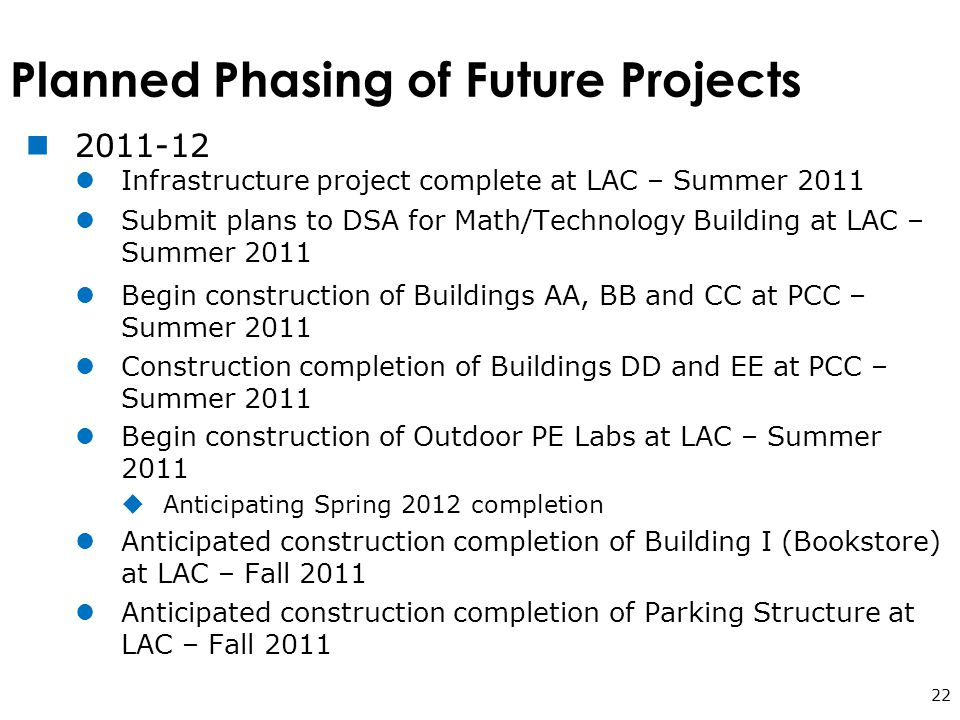 Planned Phasing of Future Projects 22 2011-12 Infrastructure project complete at LAC – Summer 2011 Submit plans to DSA for Math/Technology Building at LAC – Summer 2011 Begin construction of Buildings AA, BB and CC at PCC – Summer 2011 Construction completion of Buildings DD and EE at PCC – Summer 2011 Begin construction of Outdoor PE Labs at LAC – Summer 2011  Anticipating Spring 2012 completion Anticipated construction completion of Building I (Bookstore) at LAC – Fall 2011 Anticipated construction completion of Parking Structure at LAC – Fall 2011
