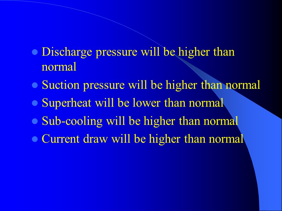 Discharge pressure will be higher than normal Suction pressure will be higher than normal Superheat will be lower than normal Sub-cooling will be higher than normal Current draw will be higher than normal