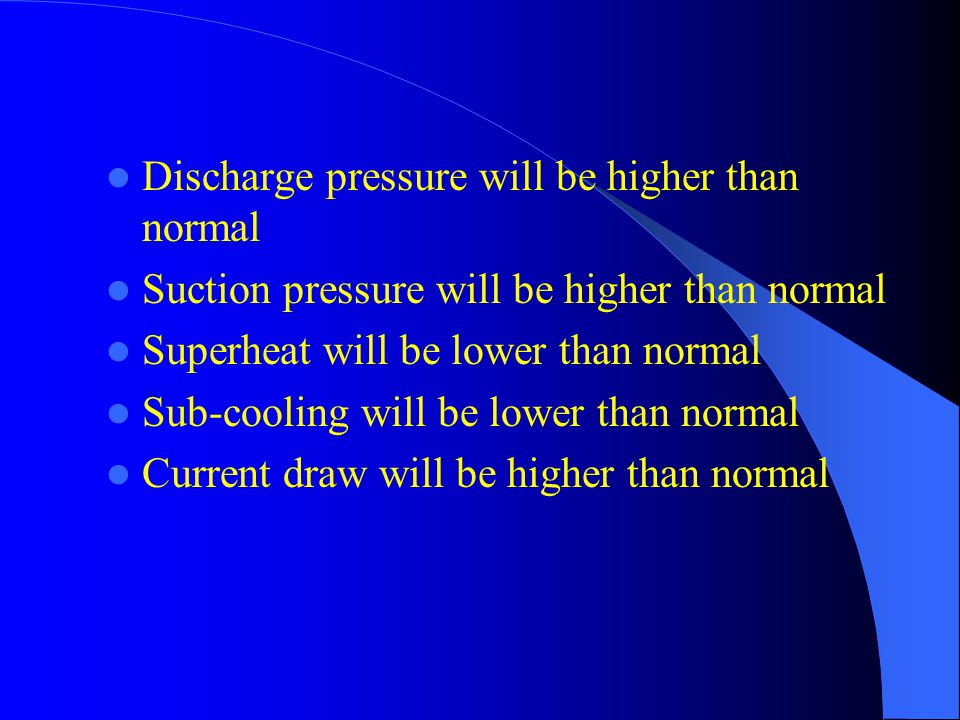 Discharge pressure will be higher than normal Suction pressure will be higher than normal Superheat will be lower than normal Sub-cooling will be lower than normal Current draw will be higher than normal