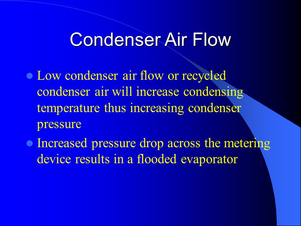 Condenser Air Flow Low condenser air flow or recycled condenser air will increase condensing temperature thus increasing condenser pressure Increased pressure drop across the metering device results in a flooded evaporator