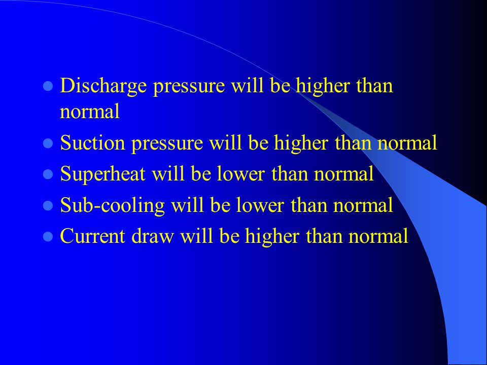 Discharge pressure will be higher than normal Suction pressure will be higher than normal Superheat will be lower than normal Sub-cooling will be lowe