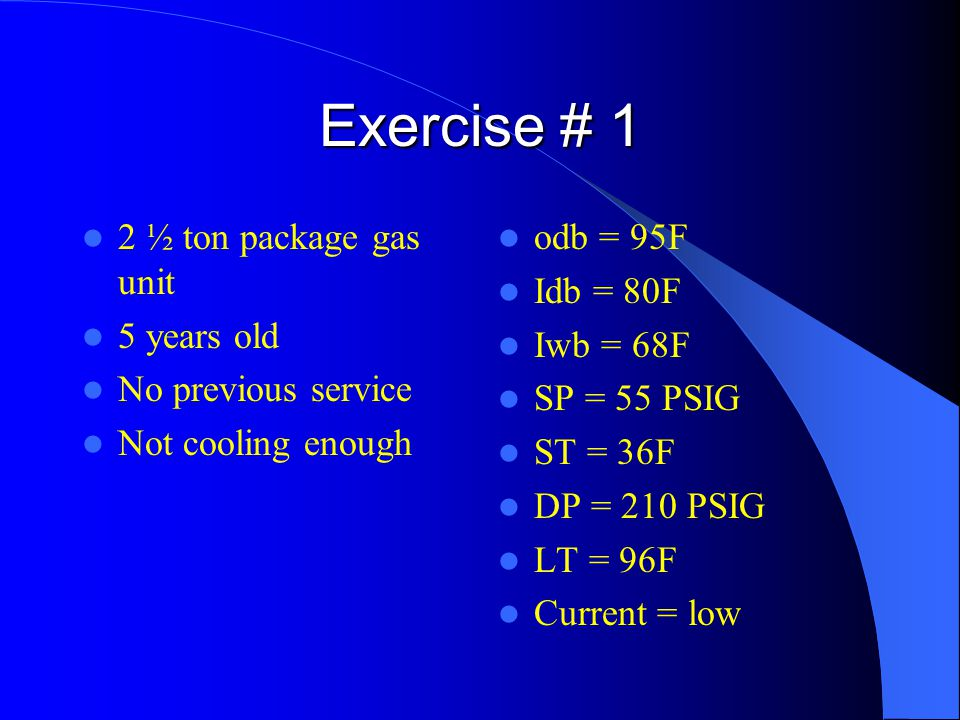 Exercise # 1 2 ½ ton package gas unit 5 years old No previous service Not cooling enough odb = 95F Idb = 80F Iwb = 68F SP = 55 PSIG ST = 36F DP = 210