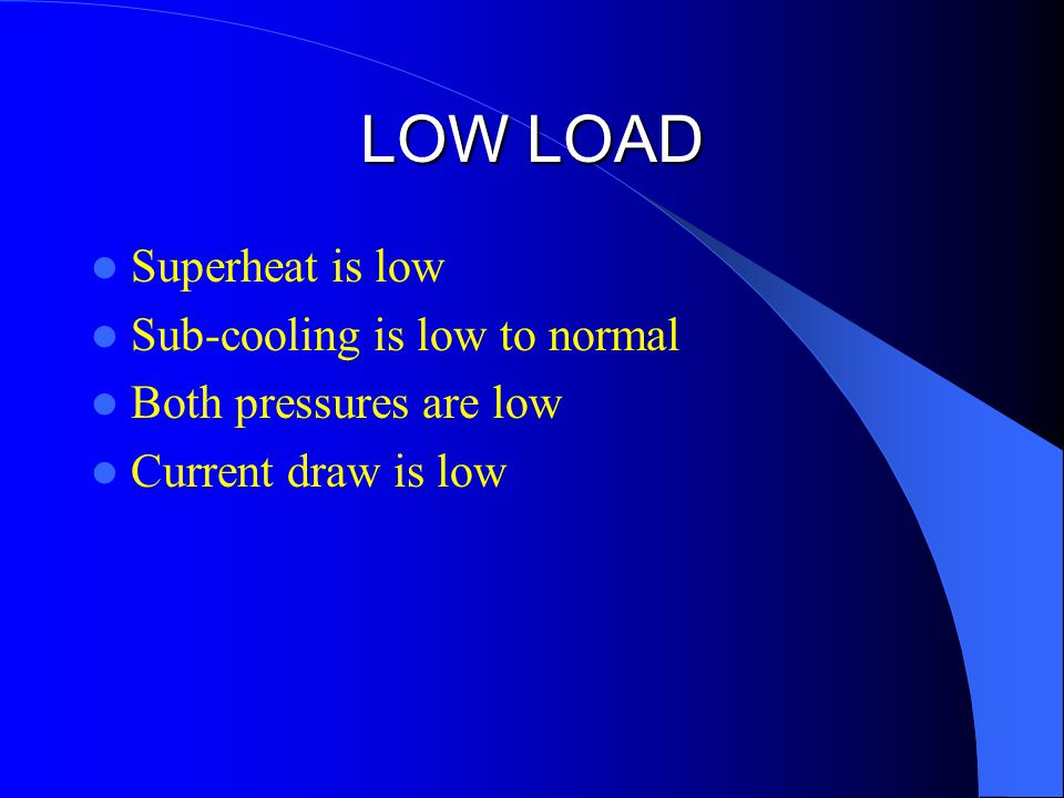 LOW LOAD Superheat is low Sub-cooling is low to normal Both pressures are low Current draw is low