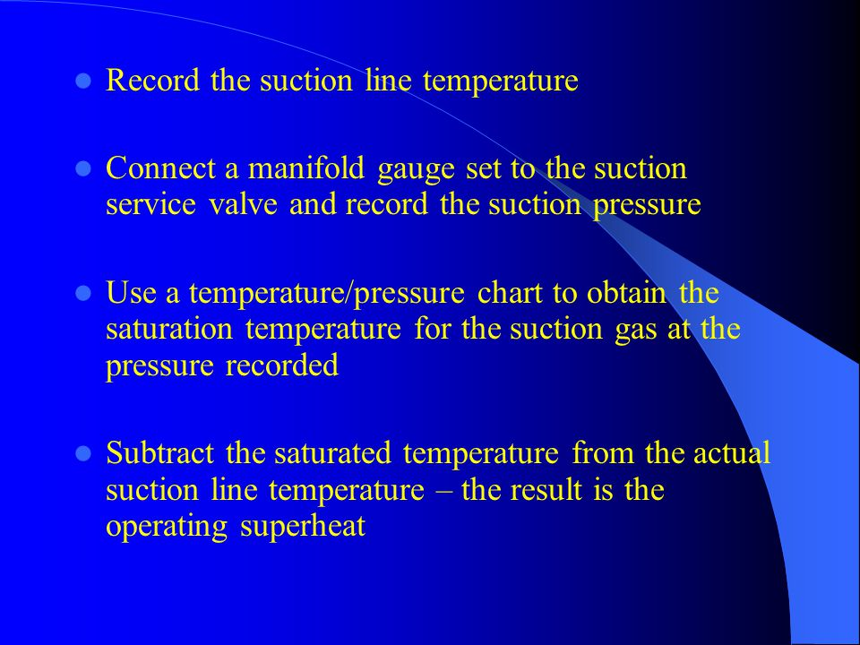 Example 1 Suction line temperature =55 F Suction pressure = 68.5 psig 68.5 psig = 40 F