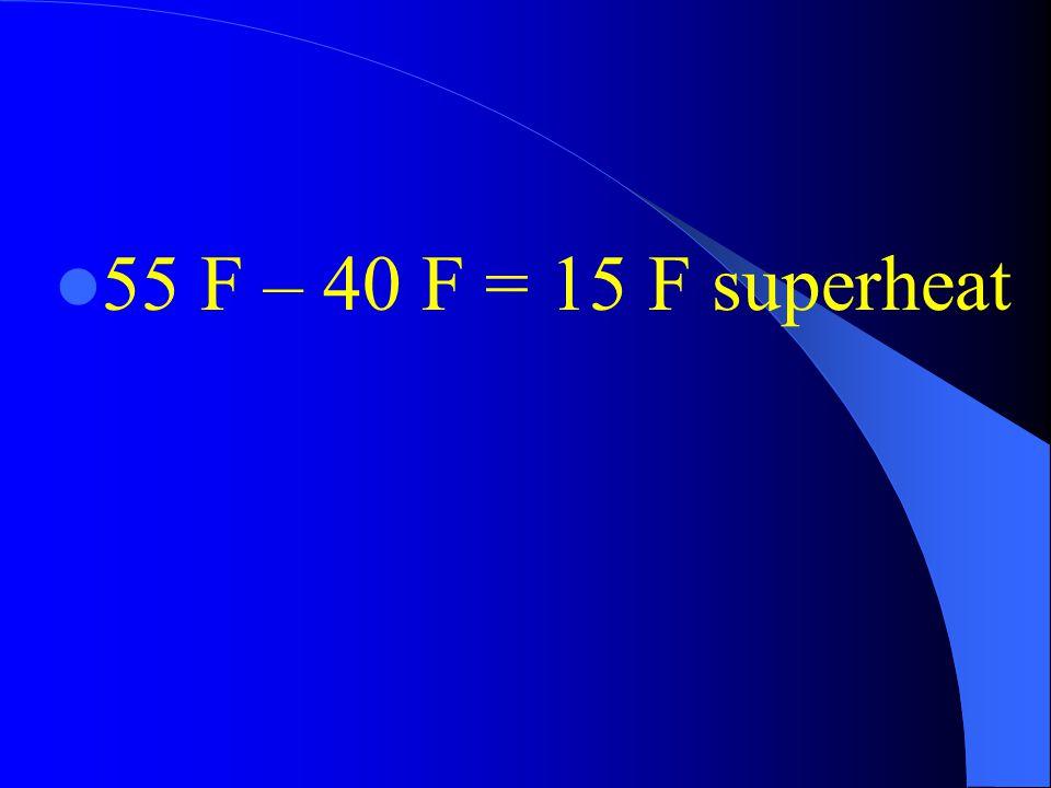 55 F – 40 F = 15 F superheat