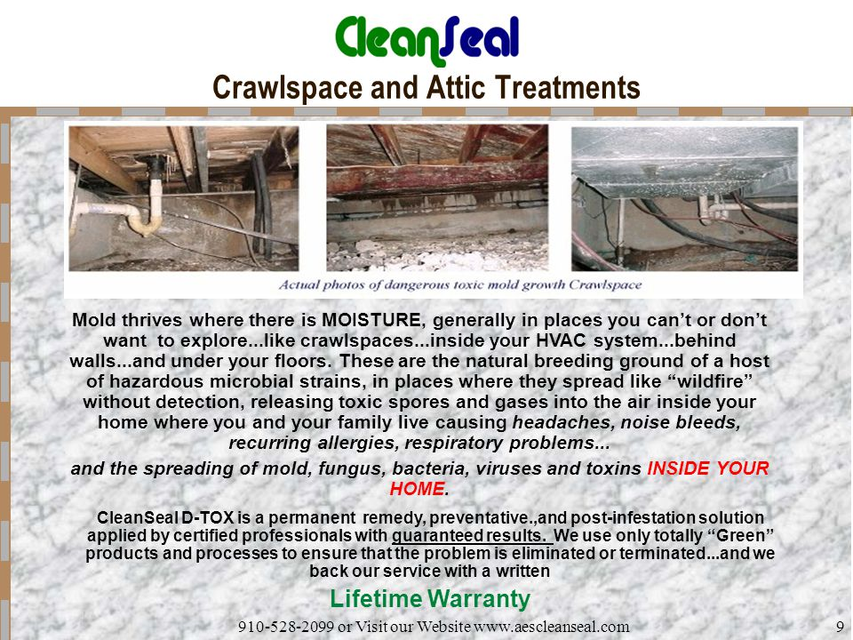 910-528-2099 or Visit our Website www.aescleanseal.com9 Crawlspace and Attic Treatments Mold thrives where there is MOISTURE, generally in places you can't or don't want to explore...like crawlspaces...inside your HVAC system...behind walls...and under your floors.