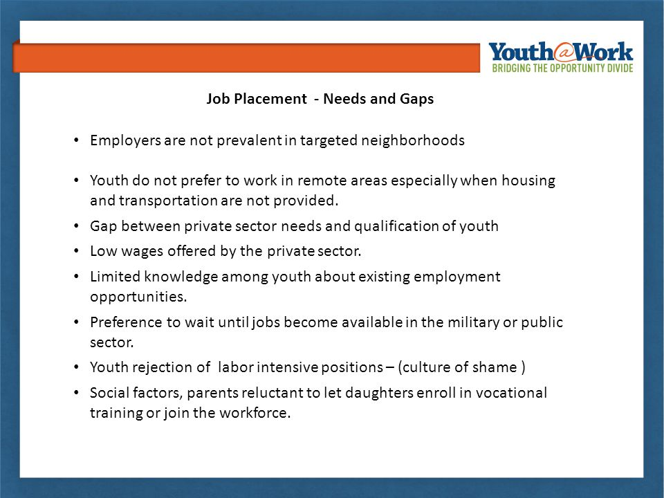 Employers are not prevalent in targeted neighborhoods Youth do not prefer to work in remote areas especially when housing and transportation are not p
