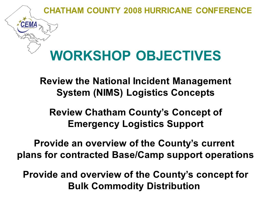 CHATHAM COUNTY 2008 HURRICANE CONFERENCE BULK COMMODITIES Bulk Commodities generally refer to resources distributed post event to the effected population for a limited duration (plan 7-14 days) These commodities most commonly consist of: Food Water Ice Plastic Sheeting
