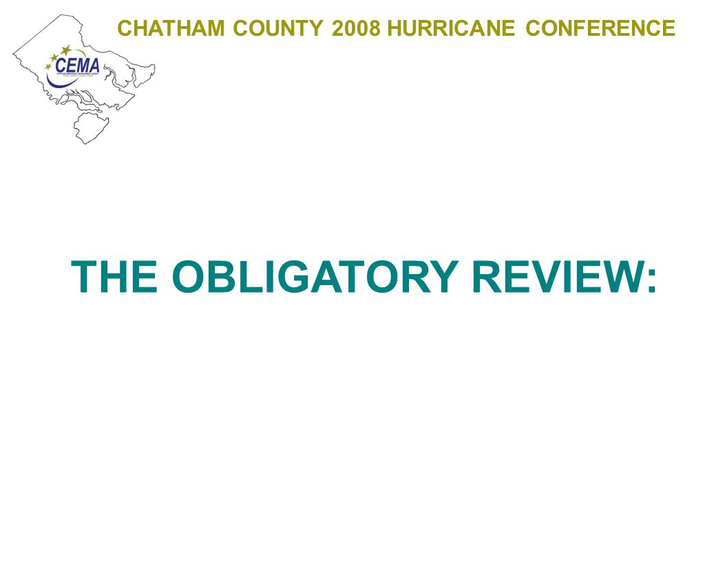 CHATHAM COUNTY 2008 HURRICANE CONFERENCE MUNICIPAL DEPARTMENTS AND AGENCIES CONTRACTORS VENDORS EXISTING MUTUAL AID AGREEMENTS CEMA AGENCY OR MUNICIPAL IC LOGISTICS LOGISTICAL SUPPORT TO MULTIPLE AGENCY – SINGLE JURISDICTION EVENTS ESF1 ESF2 ESF3 ESF5 ESF6 ESF7 ESF8 ESF11 ESF12 ESF13 ESF15