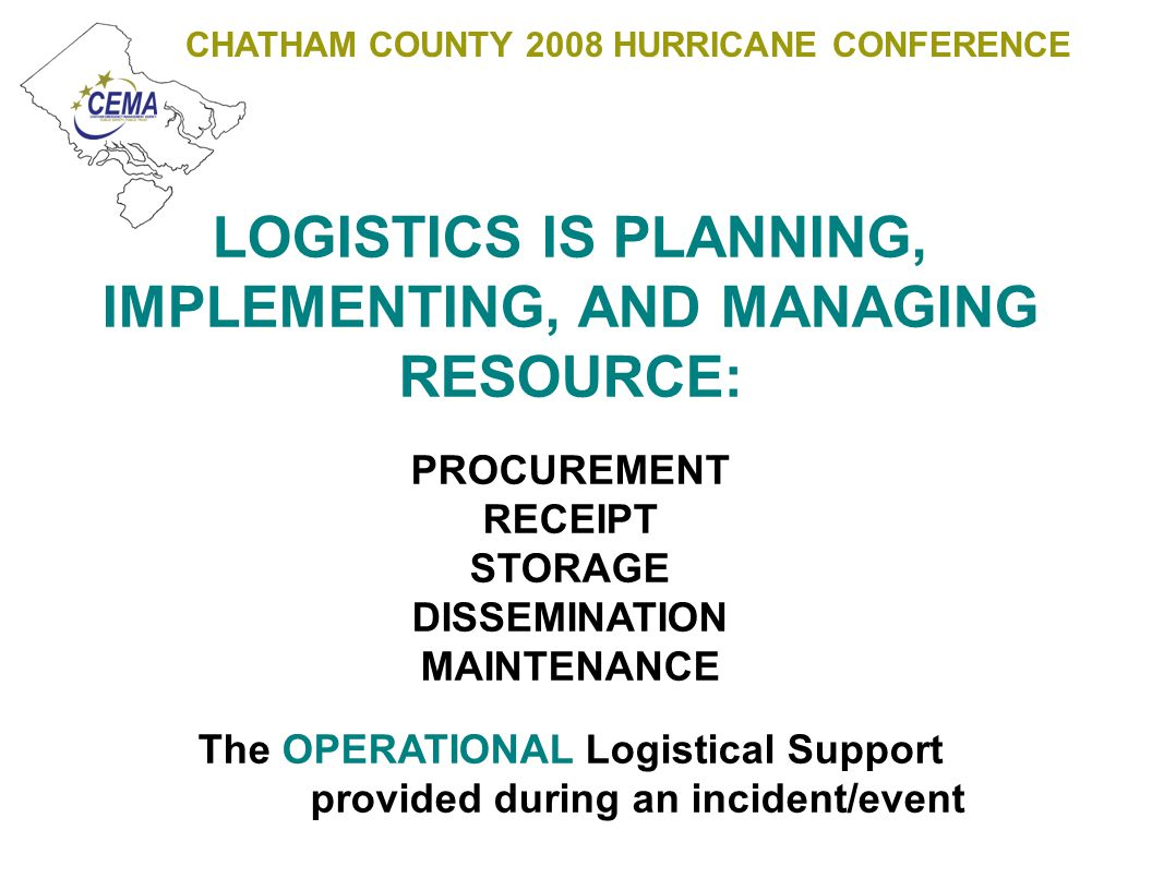 CHATHAM COUNTY 2008 HURRICANE CONFERENCE POINT OF DISTRIBUTION (POD) A POD is established as the INITIAL point where the effected population may obtain life sustaining emergency relief supplies until such time as power is restored, relief social service programs are in place, and traditional retail and commercial establishments reopen (plan 7-14 days).