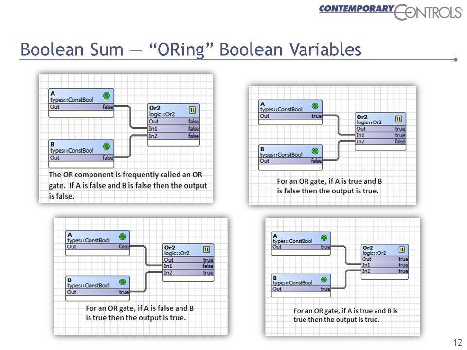 Boolean Sum — ORing Boolean Variables 12