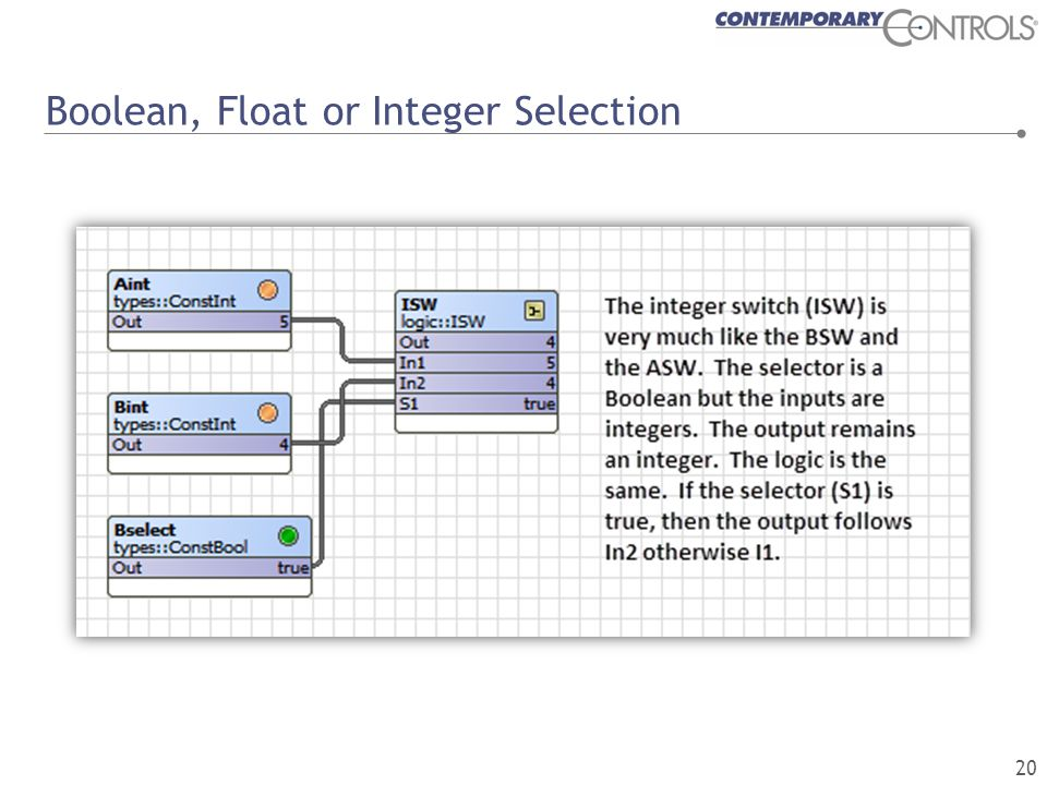 Boolean, Float or Integer Selection 20