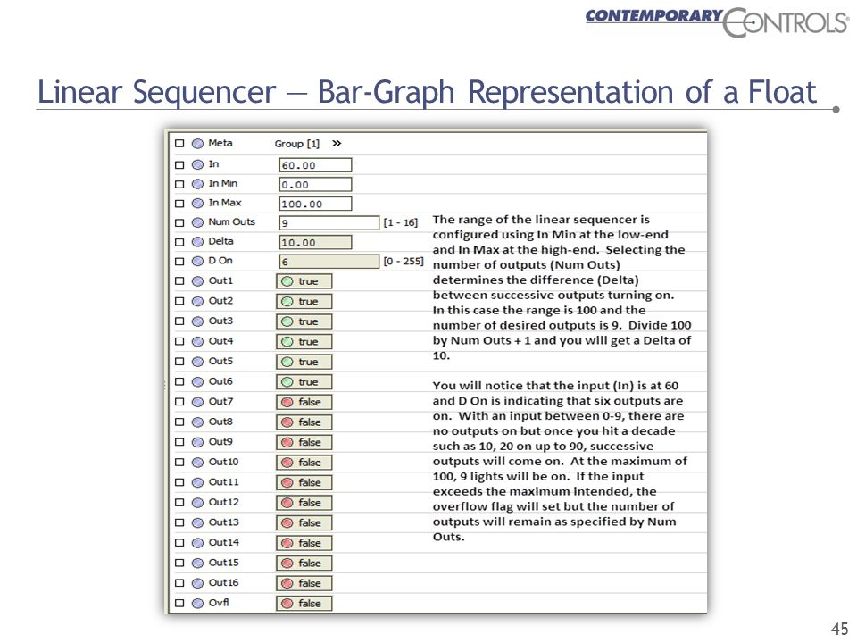 Linear Sequencer — Bar-Graph Representation of a Float 45