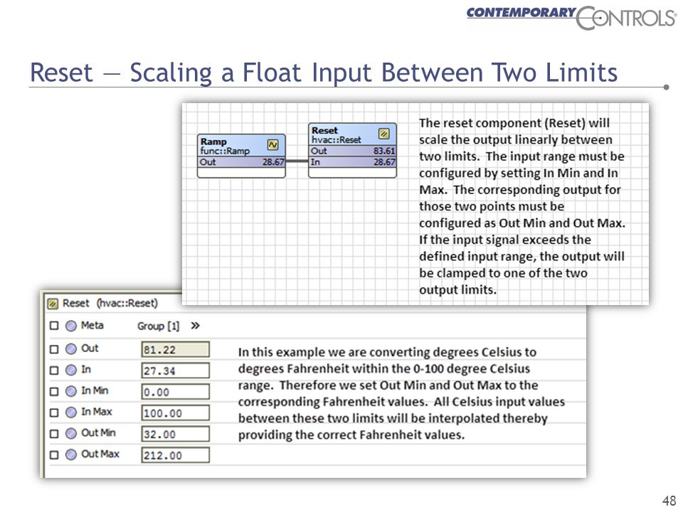Reset — Scaling a Float Input Between Two Limits 48
