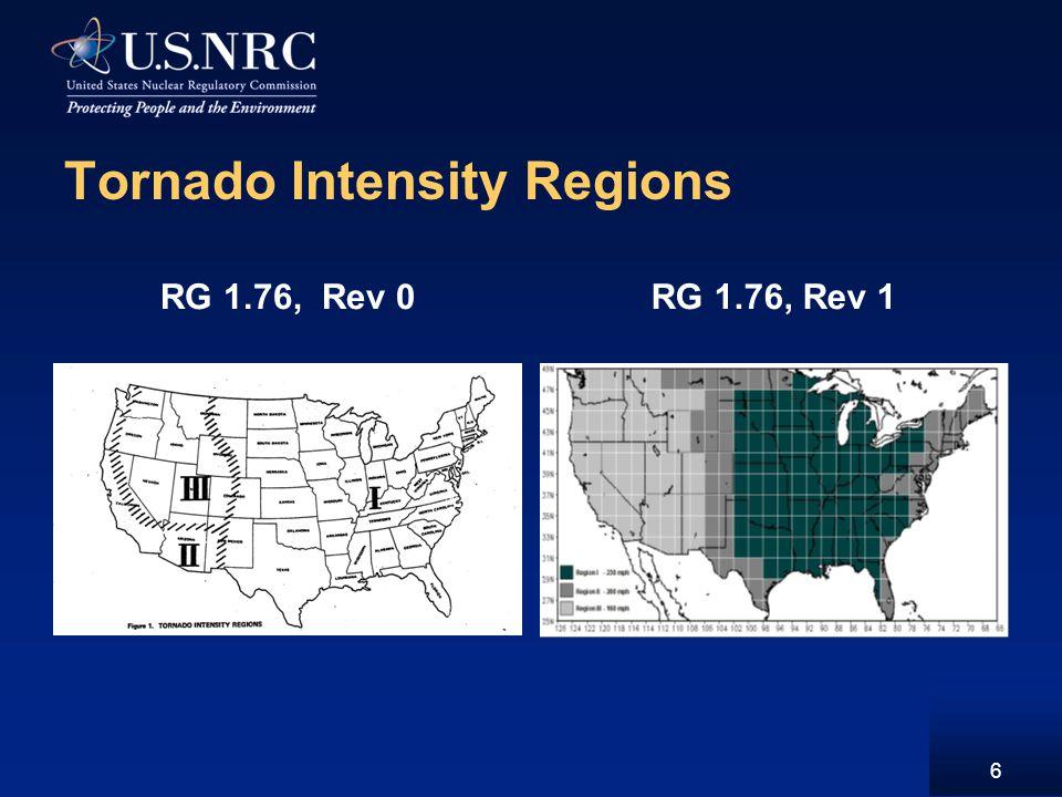 Tornado Intensity Regions RG 1.76, Rev 0RG 1.76, Rev 1 6