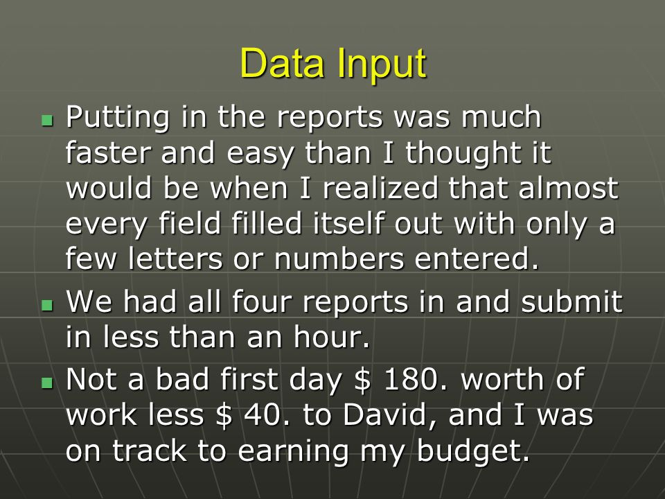 Data Input Putting in the reports was much faster and easy than I thought it would be when I realized that almost every field filled itself out with only a few letters or numbers entered.