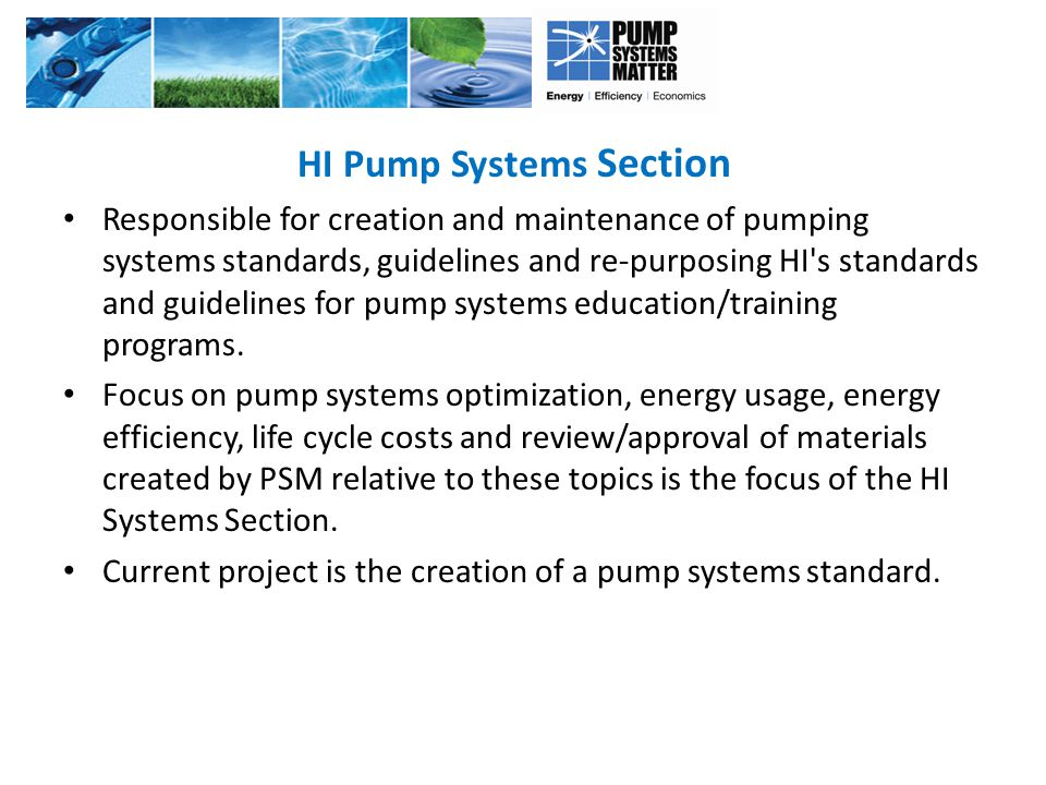 HI Pump Systems Section Responsible for creation and maintenance of pumping systems standards, guidelines and re-purposing HI s standards and guidelines for pump systems education/training programs.