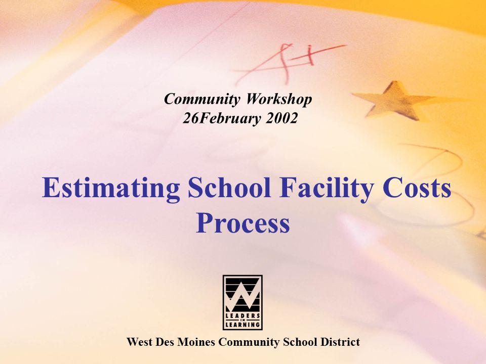 West Des Moines Community School District Community Workshop 26February 2002 Estimating School Facility Costs Process