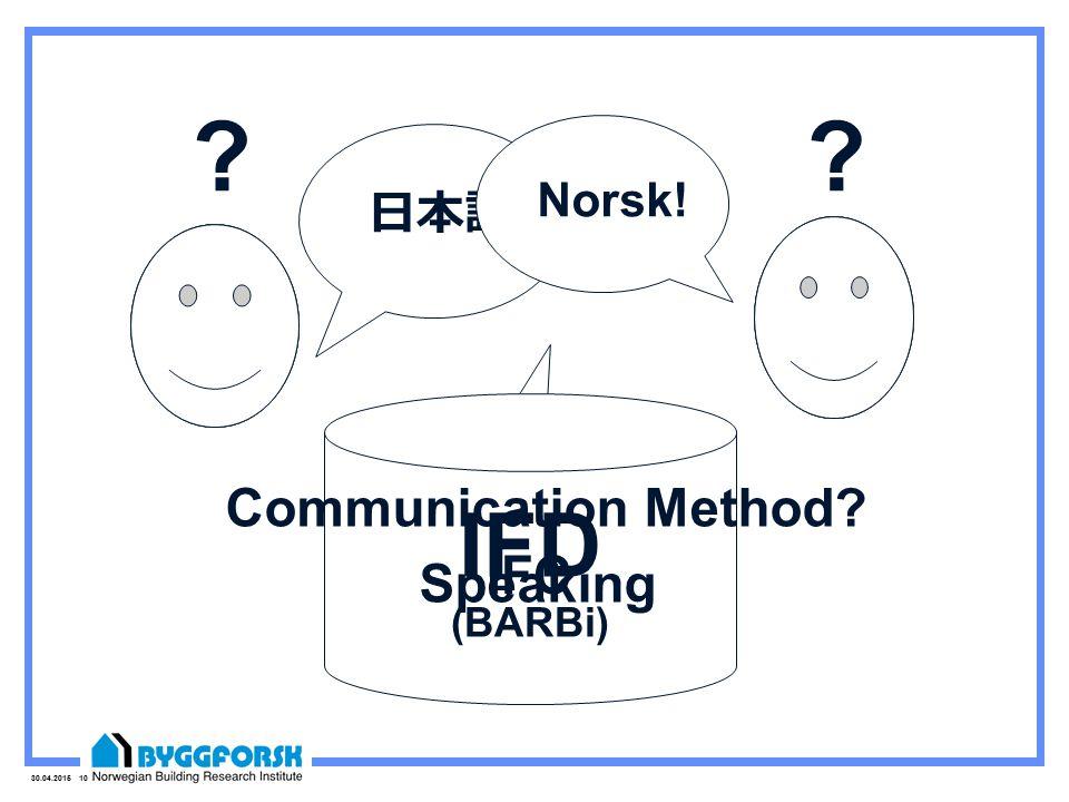 30.04.2015 10 日本語! Norsk! English! IFD (BARBi) Communication Method IFC Speaking