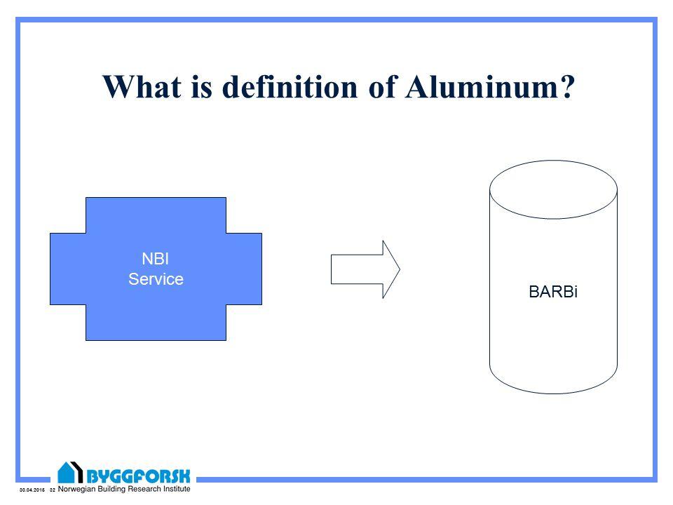 30.04.2015 32 What is definition of Aluminum NBI Service BARBi