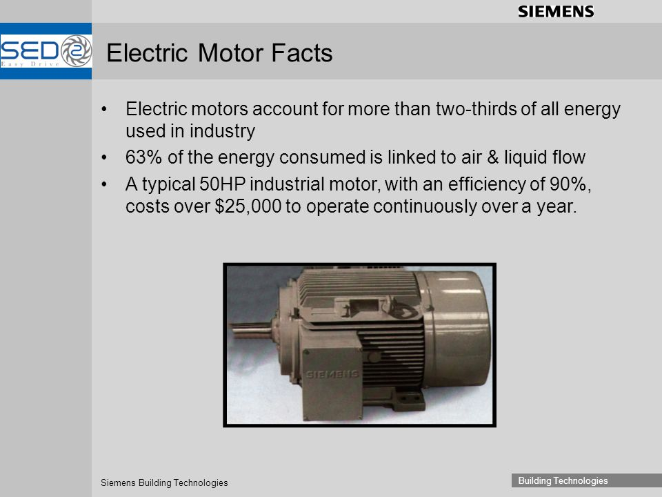 Siemens Building Technologies Building Technologies Electric Motor Facts Electric motors account for more than two-thirds of all energy used in indust