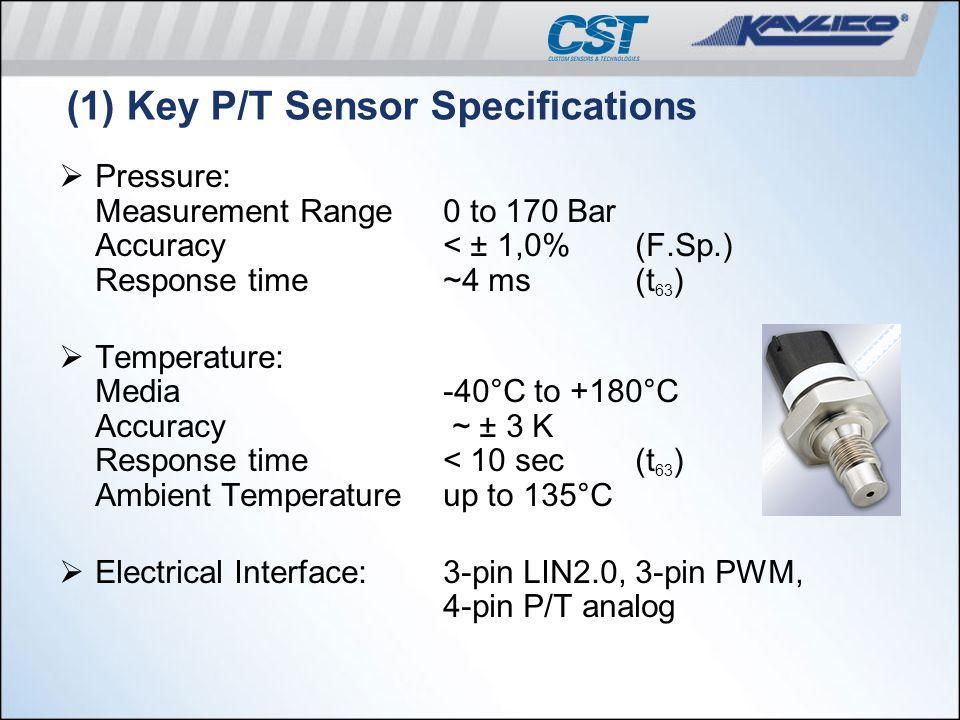 (1) Key P/T Sensor Specifications  Pressure: Measurement Range0 to 170 Bar Accuracy< ± 1,0%(F.Sp.) Response time~4 ms(t 63 )  Temperature: Media -40