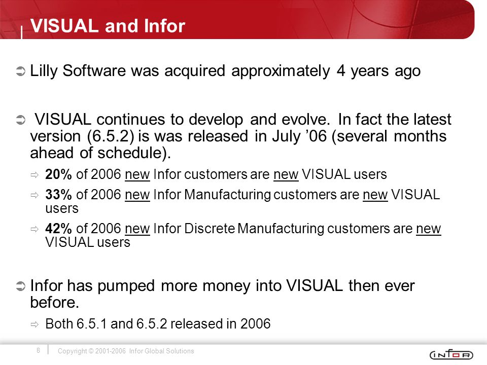 8 Copyright © 2001-2006 Infor Global Solutions VISUAL and Infor  Lilly Software was acquired approximately 4 years ago  VISUAL continues to develop and evolve.