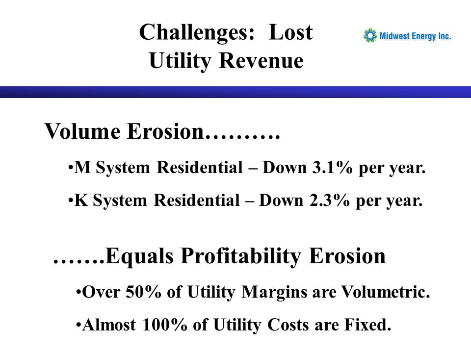 Challenges: Lost Utility Revenue Volume Erosion……….