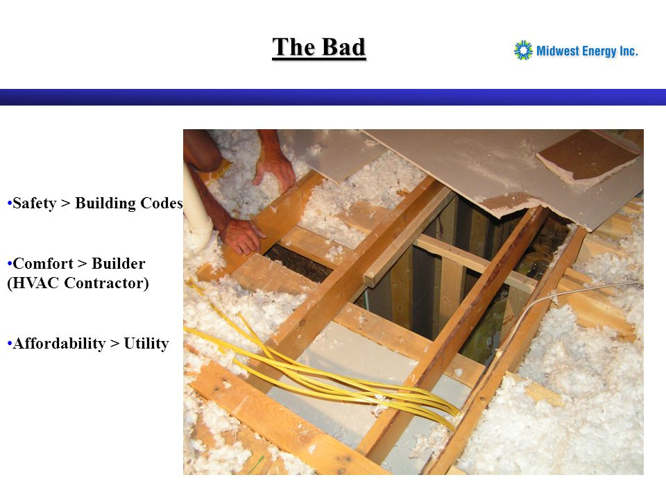 The Bad Safety > Building Codes Comfort > Builder (HVAC Contractor) Affordability > Utility