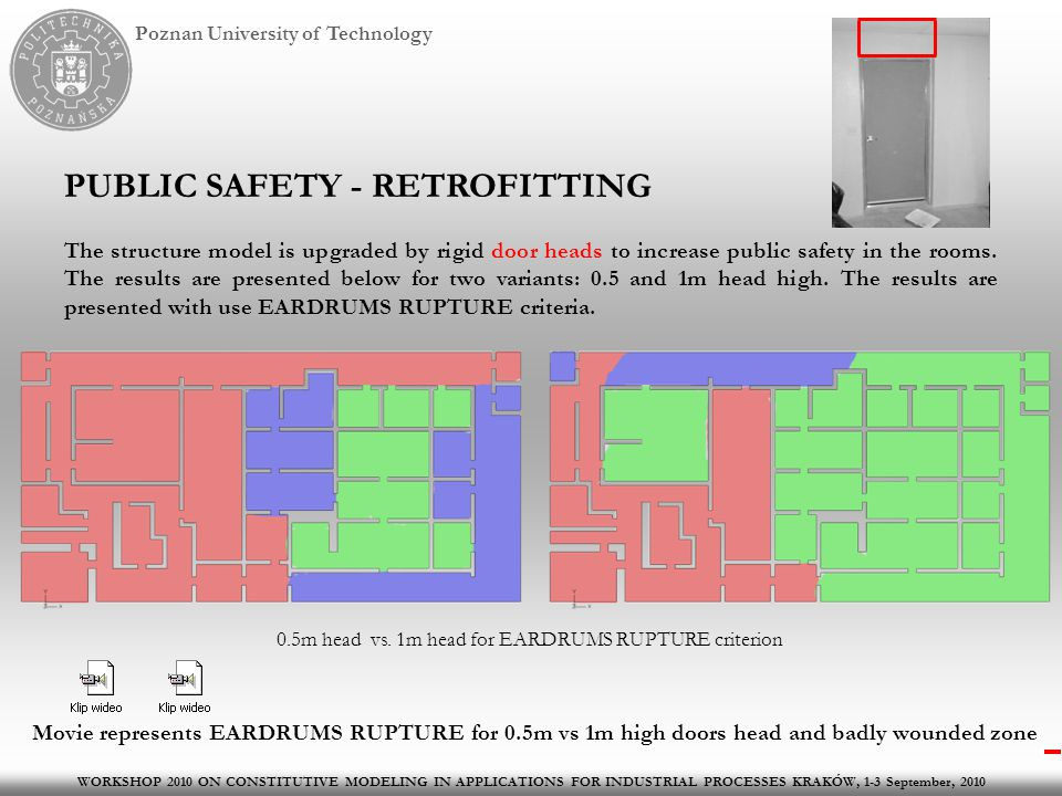 Poznan University of Technology PUBLIC SAFETY - RETROFITTING The structure model is upgraded by rigid door heads to increase public safety in the rooms.