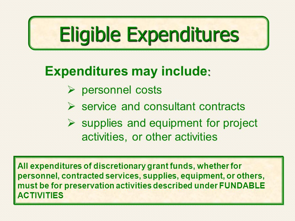  personnel costs  service and consultant contracts  supplies and equipment for project activities, or other activities : Expenditures may include : All expenditures of discretionary grant funds, whether for personnel, contracted services, supplies, equipment, or others, must be for preservation activities described under FUNDABLE ACTIVITIES Eligible Expenditures