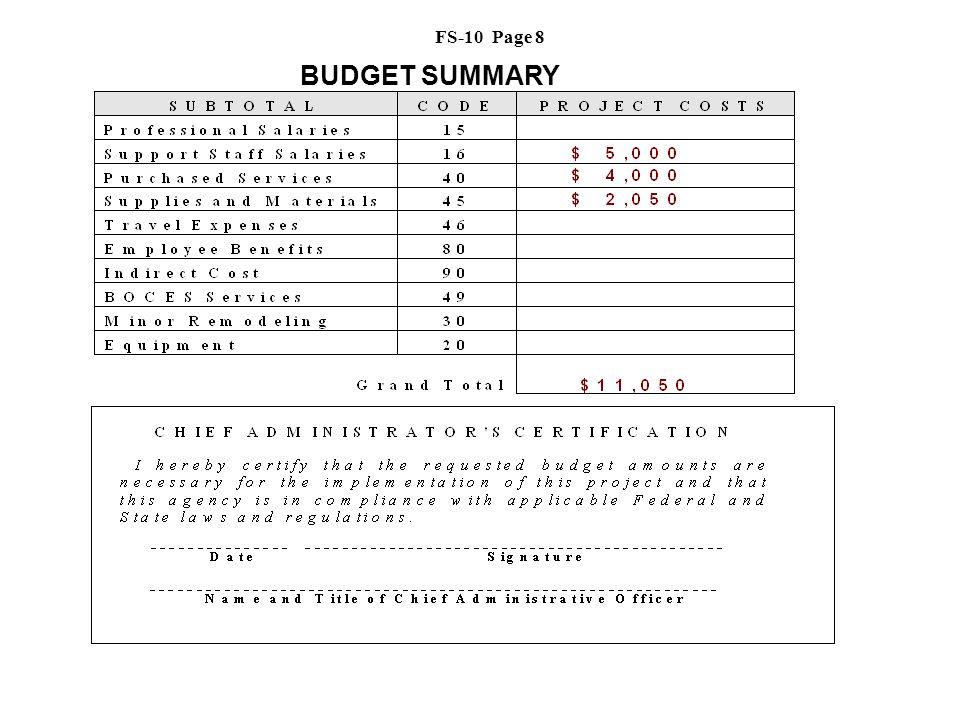BUDGET SUMMARY FS-10 Page 8