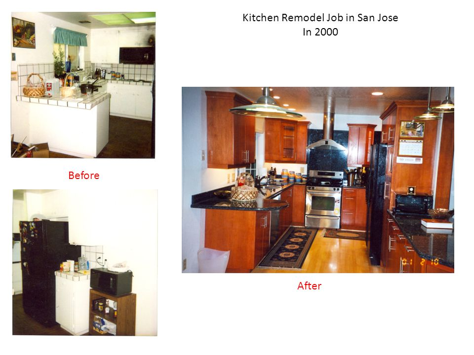 Kitchen Remodel Job in San Jose In 2000 Before After