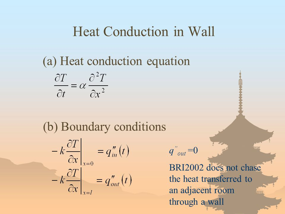 """Heat Conduction in Wall (a) Heat conduction equation (b) Boundary conditions q """" out =0 BRI2002 does not chase the heat transferred to an adjacent roo"""
