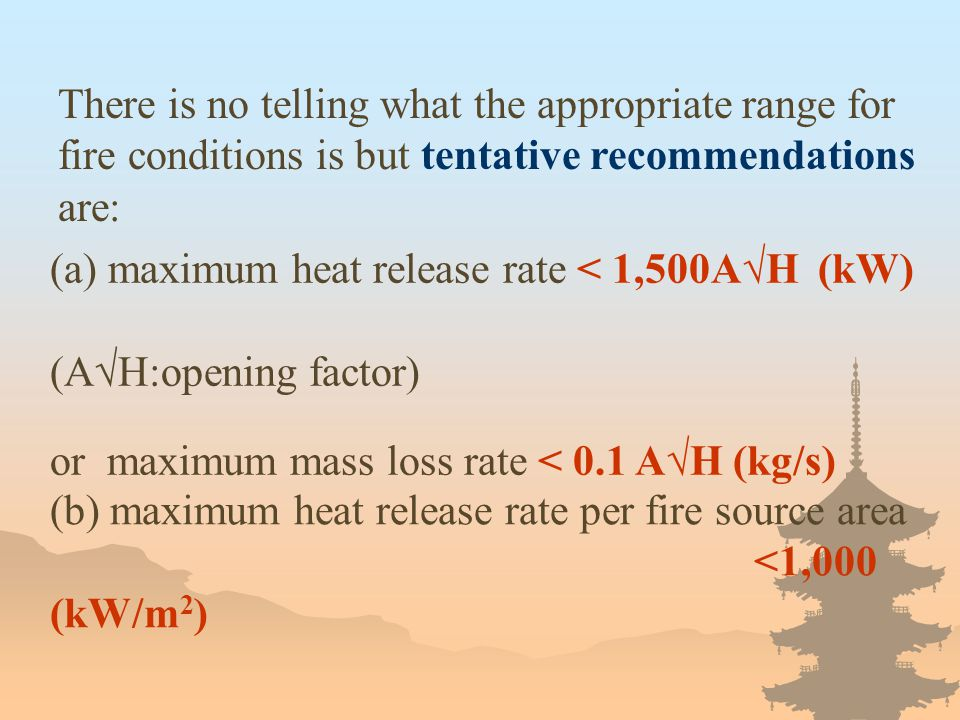 There is no telling what the appropriate range for fire conditions is but tentative recommendations are: (a) maximum heat release rate < 1,500A√H (kW)