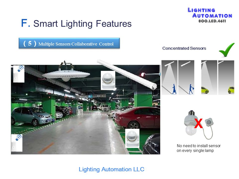 ( 5 ) Multiple Sensors Collaborative Control X No need to install sensor on every single lamp Concentrated Sensors Lighting Automation LLC F.