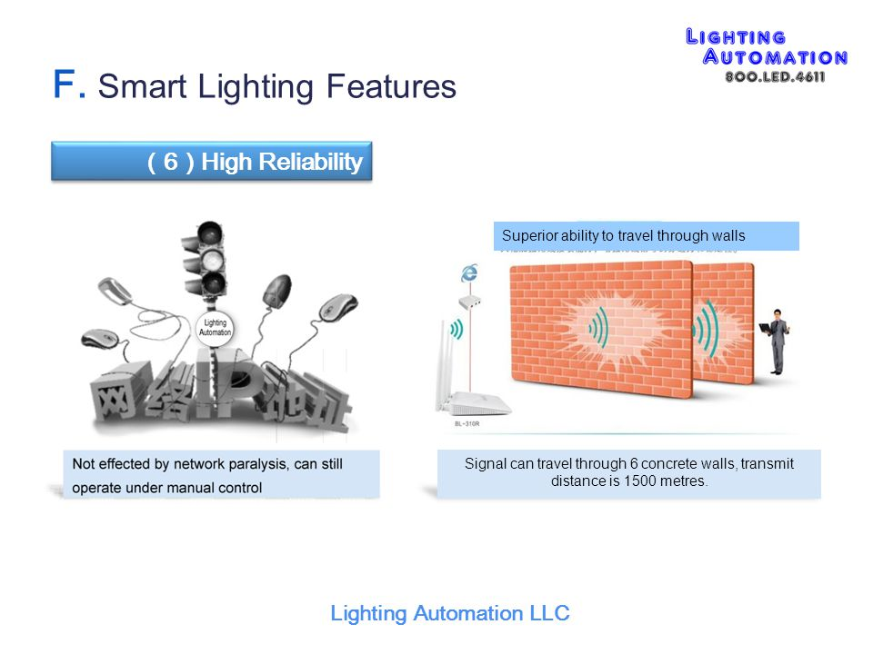 Lighting Automation LLC ( 6 ) High Reliability F. Smart Lighting Features Signal can travel through 6 concrete walls, transmit distance is 1500 metres