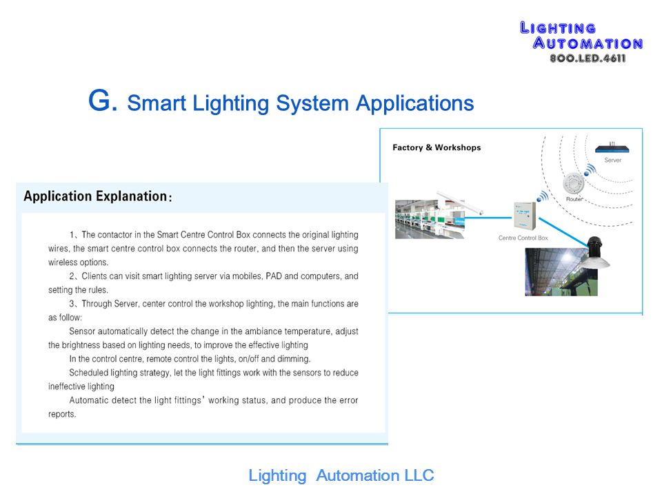 G. Smart Lighting System Applications Lighting Automation LLC